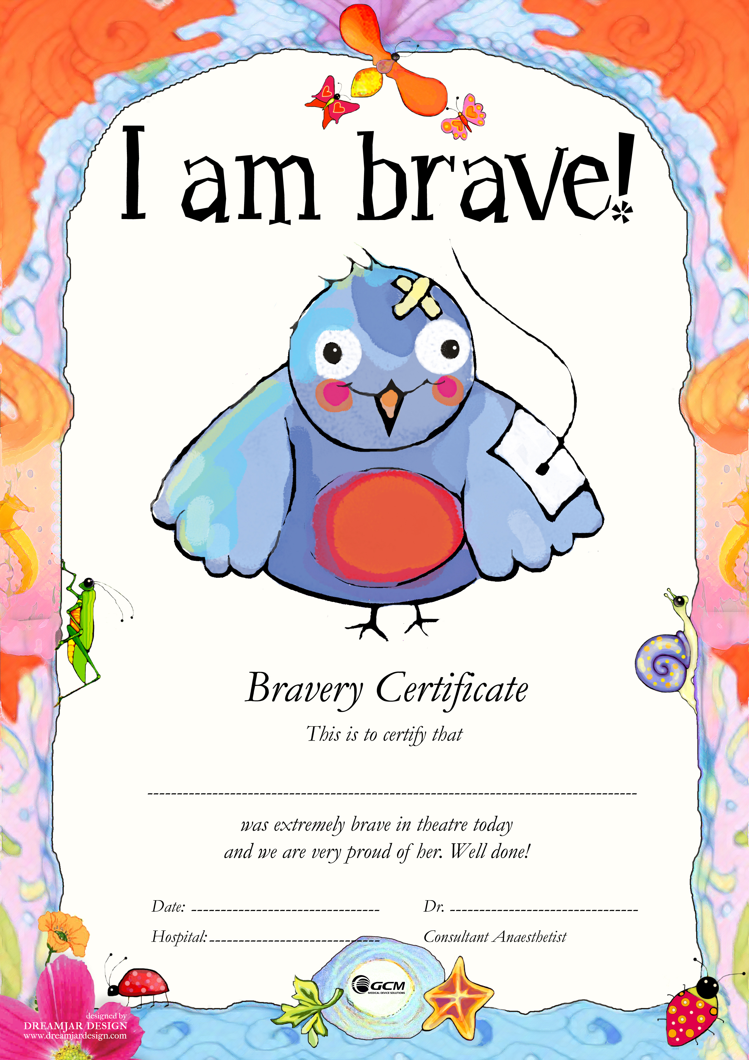 bravery certificate template - tci with children bravery